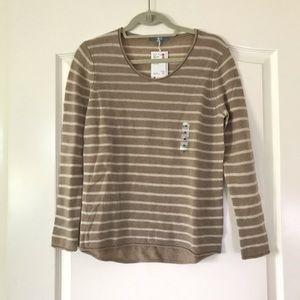 Beige striped cashmere sweater